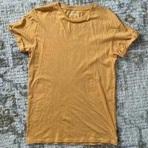 ASOS New Look Mustard Yellow Cuffed Sleeve T-Shirt